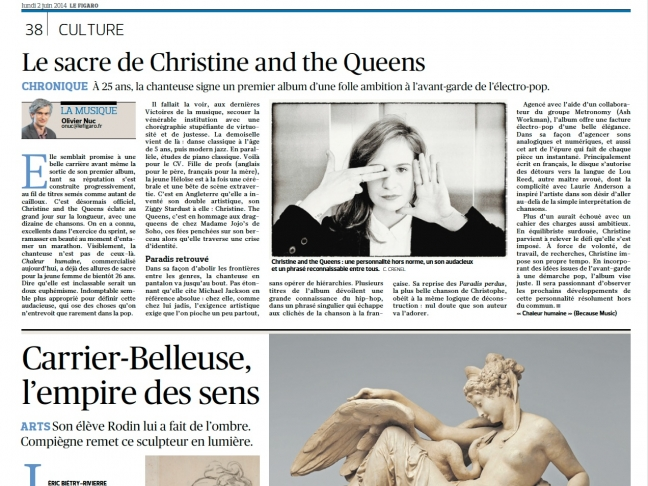 Parution Le Figaro (Photo de Christine and the Queens) Juin 2014